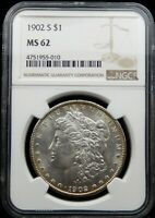 1902 S MORGAN SILVER DOLLAR - NGC CERTIFIED MINT STATE 62