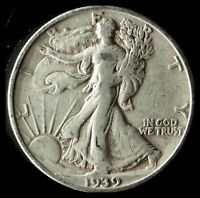 1939-S WALKING LIBERTY 90 SILVER HALF SHIPS FREE. BUY 5 FOR $2 OFF