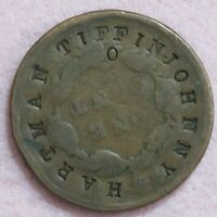 1830S LARGE CENT COUNTERSTAMPED JOHNNY HARTMAN TIFFIN OHIO 1876