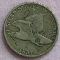 1857 FLYING EAGLE CENT COUNTERSTAMPED E. E. C.
