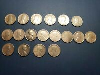 LOT OF 18 LINCOLN WHEAT PENNIES 1911, 1914, 1916, 1917, 1919