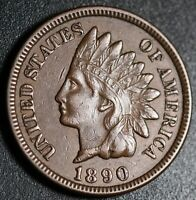 1890 INDIAN HEAD CENT -WITH LIBERTY & DIAMONDS - EXTRA FINE  EF