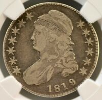 1819 50C SILVER LIBERTY NGC F-12 CAPPED BUST LETTERED EDGE HALF DOLLAR 4700