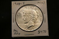 1928 S UNITED STATES SILVER PEACE DOLLAR MS63 CHOICE UNCIRCULATED BETTER DATE