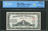 1936 $1 ALBERTA PROSPERITY CERTIFICATE. CHOICE UNC 63 CCCS WITH 10 STAMPS. A 1
