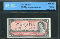 1954 $2 BANK OF CANADA.  AG REPLACEMENT B R SIGS UNC63 CCCS. ABOVE 3.2M. BC 38BA