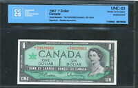 1967 BANK OF CANADA $1.  NO REPLACEMENT NOTE. UNC 63 CCCS. BC 45BA.