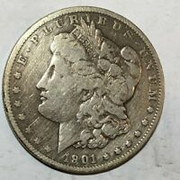 1901 VG-FINE MORGAN SILVER DOLLAR. OLD CLEANING. LOTUM1