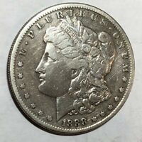 1888-S VF MORGAN SILVER DOLLAR. OLD CLEANING. LOTKN1