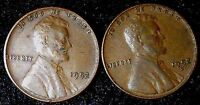 1952-P-D 1C LINCOLN WHEAT CENT 2 COINS  EXTRA FINE  O-2 70 CENTS SHIPPING