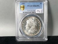 1887-P PCGS MINT STATE 63 PL PROOF LIKE MORGAN SILVER DOLLAR ORIGINAL GREAT STRIKE