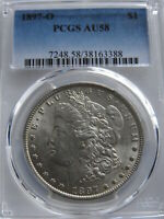 1897-O MORGAN SILVER DOLLAR PCGS AU58  GREAT STRIKE HARD WHITE COULD 60