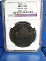 1802/1 DRAPED BUST SILVER $1 DOLLAR VF DETAILS BB231