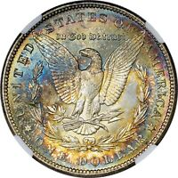 RAINBOW TONED 1887 MORGAN DOLLAR NGC MINT STATE 65 GEM COLOR TONING