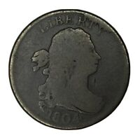 1804 1/2C DRAPED BUST HALF CENT 4 STEMS F UNCERTIFIED