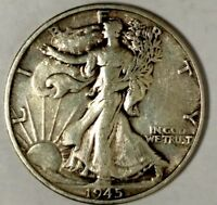 1945-S 50C WALKING LIBERTY HALF DOLLAR 19HCT0126 90 SILVER 50 CENTS SHIPPING