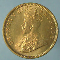 GEM BU 1934 C GEORGE V ONE QUARTER ANNA   LIGHT ATTRACTIVE TONING