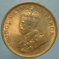 MOSTLY RED CHOICE BU 1936 C GEORGE V ONE QUARTER ANNA
