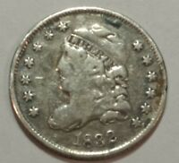 1832 CAPPED BUST SILVER US HALF DIME. VG-F, REVERSE SCTATCHES.