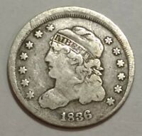 1836 FINE CAPPED BUST SILVER US HALF DIME. MISALIGNED OBVERSE DIE. LOT2