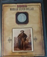 1883 O - MORGAN SILVER DOLLAR - 1994 GERONIMO STAMP - LEGENDS OF THE WEST SET