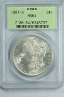 1881-S $1 MORGAN DOLLAR PCGS MINT STATE 64 OLD GREEN HOLDER OGH