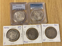MORGAN SILVER DOLLAR LOT OF 5 1883-S 1883-O MINT STATE 63 1881-S MINT STATE 62 1899-O 1902-P LOOK