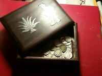 58 SILVER DIMES IN AN ANTIQUE WOODEN BOX 50 MERCURYS AND 8 B