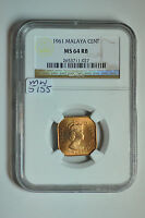 MW5155 MALAYA; BRONZE CENT 1961  NGC MS64 RB KM5