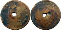 1787 NEW JERSEY COPPER MILLER 46 E HOLED AT CENTER   NEAT BI