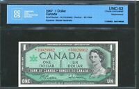 1967 BANK OF CANADA $1 REPLACEMENT NOTE  NO 0029862. UNC 63 CCCS. BC 45BA.
