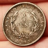 1845 STRAIGHTS SETTLEMENTS 1/4 CENT COIN