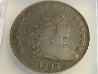 1798 CLOSE DATE DRAPED BUST HERALDIC EAGLE REVERSE SILVER DOLLAR F-15
