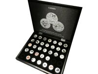 COMPLETE SET CANADA 20X20 25X25 FINE SILVER 32 COINS 545.00 CAD FV W/ CASE