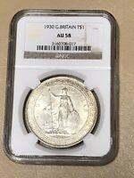 1930 GREAT BRITAIN  SILVER TRADE DOLLAR T$1 NGC AU 58 BEAUTIFUL  COIN