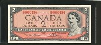 1954 $2 BANK OF CANADA   LOW SERIAL NUMBER PG0000154. CHOICE UNCIRCULATED.