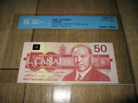 1988 $50 BANK OF CANADA CCCS GEM UNC65. BC 59A. THIESSEN CROW.