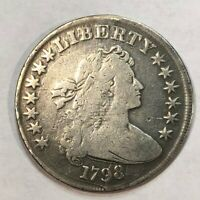 1798 EARLY US BUST DOLLAR. VG, GLOSSY CLEANED, LARGE EAGLE. LOTRDDG1