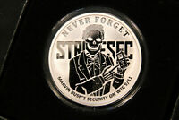 2017 SBSS 1 OZ PROOF SILVER SHIELD   NEVER FORGET STRATSEC BOX & COA 475 OF 565