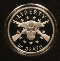 2014 LIBERTY OR DEATH  PROOF 1 OZ .999 SILVER SHIELD SBSS BOX & COA  MINTAGE