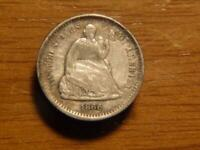 1866 S SEATED LIBERTY HALF DIME RE ENGRAVED OBVERSE VF DETAI
