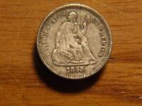 1865 S SEATED LIBERTY HALF DIME REMAINS OF OBVERSE PIN  VF D