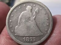 1875 S SEATED LIBERTY TWENTY CENT COLLECTOR COIN   SILVER