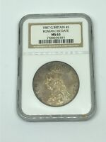 1887 GREAT BRITAIN  4 S SHILLINGS ROMAN I IN DATE SILVER COIN MS 63