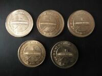 INDIA RS.5/  BRASS COIN OFF CENTRE ERROR 5 PC  UNC