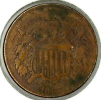 1867-P 2C COPPER TWO CENT PIECE 19WHL0712 50 CENTS SHIPPING