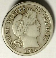 1914-P 10C BARBER DIME 90 SILVER 18ACT0103 50 CENTS SHIPPING