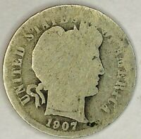 1907-P 10C BARBER DIME 90 SILVER 19OLO0704-2 50 CENTS SHIPPING
