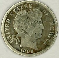 1908-P 10C BARBER DIME 90 SILVER 19LHU0704-2 50 CENTS SHIPPING