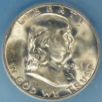 1951-S FRANKLIN HALF DOLLAR ICG MINT STATE 65FBL- STRONG LUSTER, MOSTLY WHITE GEM